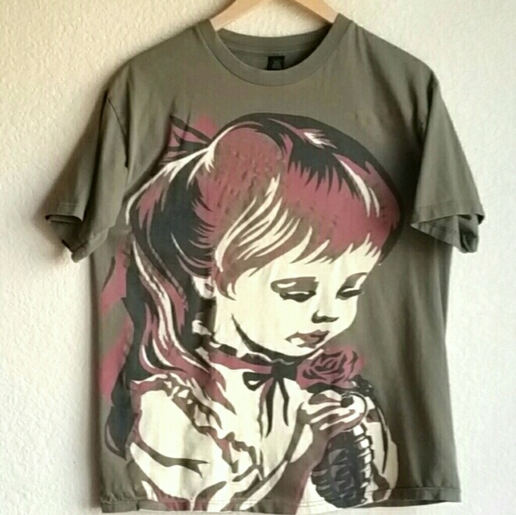 fc22f6ad3 Obey Tops   Graphic T Shirt Aikos Girl W Rose Grenade   Poshmark